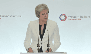 Theresa May speaks at the Western Balkans summit.