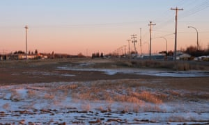 The empty lot on the outskirts of Mundare, where nine grain elevators once stood. The community's final elevator was demolished in 2013.