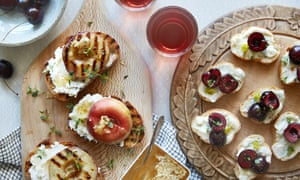 (left) Grilled roast peaches on toast with fresh cheese, local honey and thyme (right) Cherry and blue cheese crostini