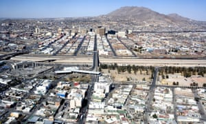 Aerial view of the border between Juarez and El Paso from Juarez City.