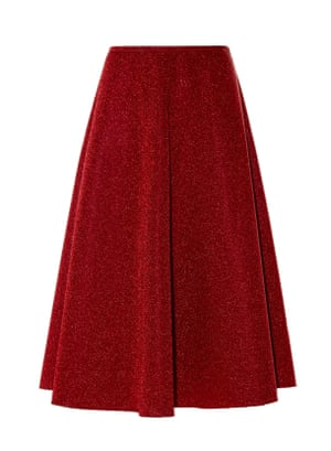Red full midi skirt