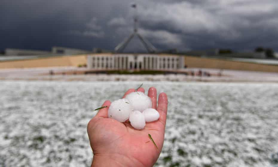 Golf ball size hail after a severe hail storm at Parliament House in Canberra, 20 January.
