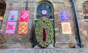 The Loud and Proud floral vulva installation outside the Vagina Museum in Camden, London, is installed to highlight the issues with girls as young as nine seeking labia plastic surgery