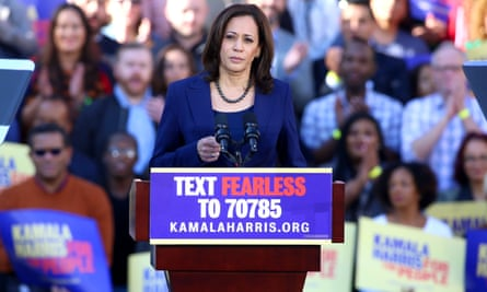 'Not much by way of self-revelation': Kamala Harris campaigning in Oakland last week.