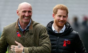 Prince Harry attending a Terrence Higgins Trust event with Gareth Thomas at Twickenham last year