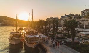 Split harbour at sunset.