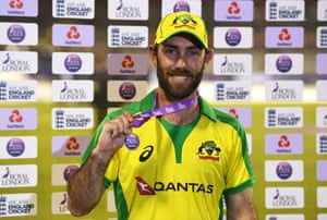 Glenn Maxwell of Australia poses with the Royal London Player of the Series medal .