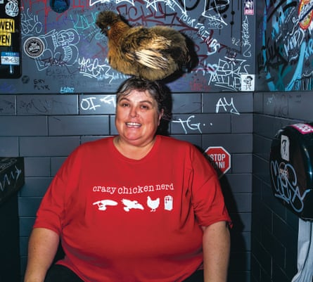Comedian Jennifer Birkin and her chicken Willow, who co-starred in her Adelaide Fringe Comedy show 'Crazy Chicken Nerd'.