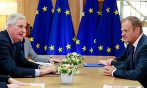 The EU's chief Brexit negotiator, Michel Barnier, with the European council president, Donald Tusk, in Brussels