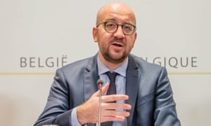 Belgian prime minister Charles Michel at a press conference after a state national security council meeting.