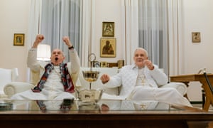 Jonathan Pryce and Anthony Hopkins in The Two Popes.