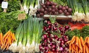 Vegetable stall at the Saturday Market, Salamanca Place, Hobart, Tasmania, Australia