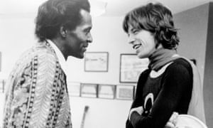 Chuck Berry and Mick Jagger backstage at Madison Square Garden in 1969.