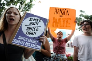 Anti racism protesters demonstrate outside a Pauline Hanson event in Perth