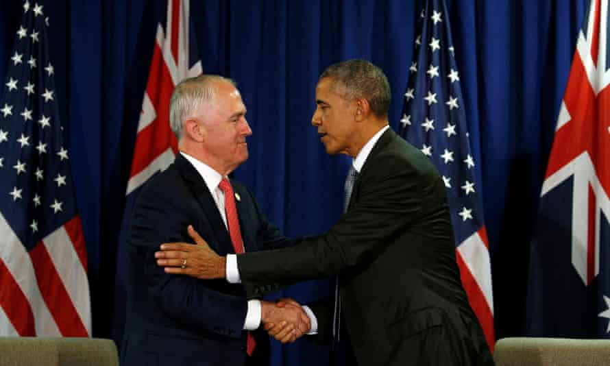 Former Australian prime minister Malcolm Turnbull and former US President Barack Obama shake hands at an Apec summit in 2016
