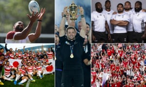 (Clockwise from top left) Joe Cokanasiga catches the ball, but humid conditions are likely to make it tricky in Japan; Richie McCaw lifts the trophy for the All Blacks in 2015; Fiji will be no pushover; Japan fans at Wales training; this year's hosts celebrate victory over South Africa in 2015.