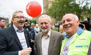 Len McCluskey and Jeremy Corbyn at a steel workers' march, London, May 2016