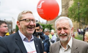 Unite union General Secretary Len McCluskey and Labour leader Jeremy Corbyn join steel workers following a march through central London in May.