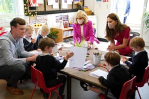 Jill Biden, the US first lady, and Kate, the Duchess of Cambridge during a visit to Connor Downs Academy, in Hayle, Cornwall, earlier today.
