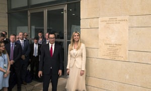 Steven Mnuchin, the US treasury secretary, and Ivanka Trump at the opening of the US embassy in Jerusalem on 14 May.