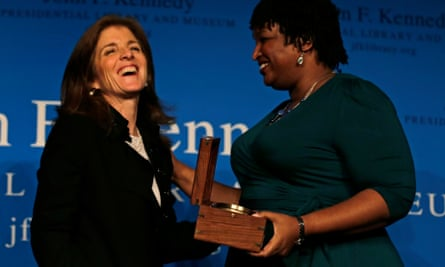 Caroline Kennedy with Stacey Abrams after presenting the annual Frontier Award at the John F Kennedy Library in Boston.