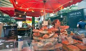 Baguettes piled high on Olivier's Bakery stall.