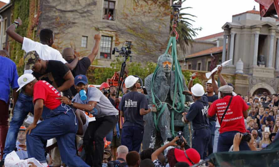 The bronze statue of British colonialist Cecil John Rhodes is removed from the Cape Town University campus, South Africa.