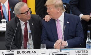 JAPAN-G20-SUMMITPresident of the European Commission Jean-Claude Juncker (L) talks to US President Donald Trump as they attend a meeting on the digital economy at the G20 Summit in Osaka on June 28, 2019. (Photo by Jacques Witt / POOL / AFP)JACQUES WITT/AFP/Getty Images