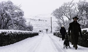 A heavy snowfall in the Scottish Borders