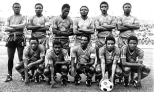 Pierre Ndaye Mulamba (front, far left) lines up with his Zaire team-mates before the fateful match against Yugoslavia.