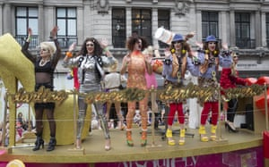 An AbFab float passes down the parade