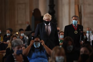 Boris Johnson arrives for the NHS service of commemoration and thanksgiving to mark the 73rd birthday of the NHS at St Paul's Cathedral