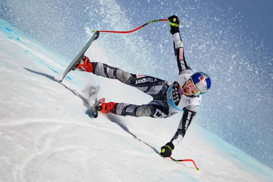 Czech Republic's Ester Ledecka competes in the women's downhill race in Crans-Montana on 21 February.