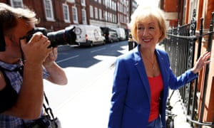 Andrea Leadsom, a candidate to succeed David Cameron as British prime minister, arrives for a news conference in central London.