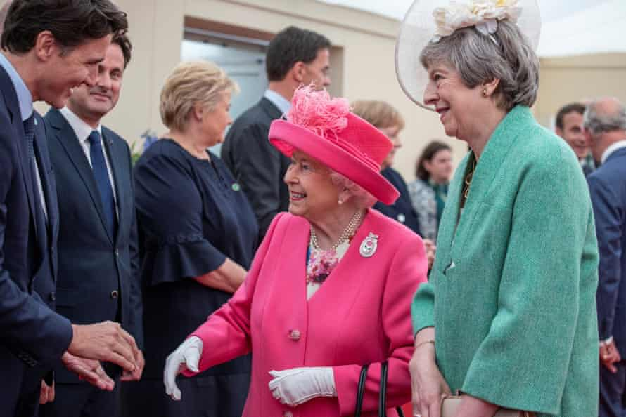 The Queen and Theresa May greet the Canadian prime minister, Justin Trudeau