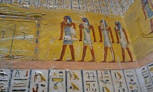 Hieroglyphs inside the tomb of Ramses IX