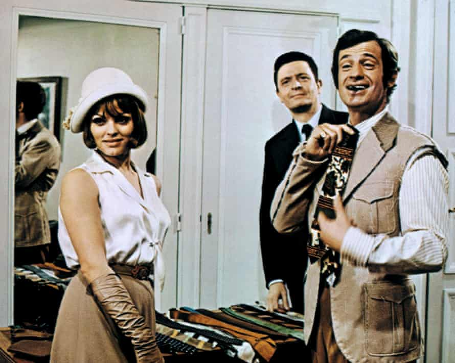 Catherine Rouvel, Mario David and Jean-Paul Belmondo in Borsalino, an American-type gangster movie, 1970.