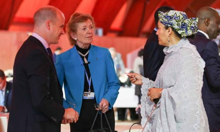 Mary Robinson, left, UN special envoy for climate change, speaks with Amina J Mohammed, Nigeria's environment minister at COP21 in Le Bourget, Paris.