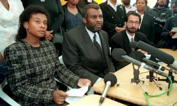 Doreen and Neville Lawrence with their lawyer Imran Khan