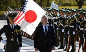 James Mattis reviews the guard of honour prior to a meeting with Japanese defence minister Tomomi Inada in Tokyo on Saturday.