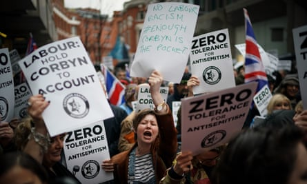 Protesters demonstrate outside Labour's headquarters in London in April.