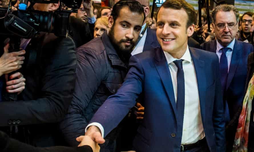 Emmanuel Macron flanked by Alexandre Benalla (centre-left) during the presidential election campaign