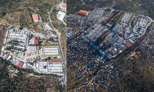 Images of Moria refugee camp taken in July 2017 and January 2020 illustrate the population explosion.
