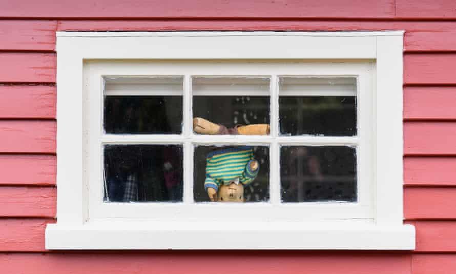 One teddy bear tries acrobatics in Christchurch.