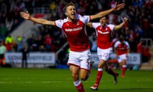 Will Vaulks celebrates scoring the goal that put Rotherham 2-0 up against Scunthorpe.