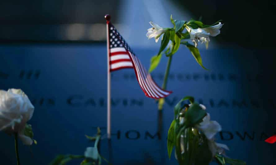 A flower at the 9/11 memorial in New York