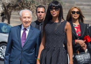 Model Naomi Campbell and Peres at an International Women's Day conference at the Peres Centre for Peace in Tel Aviv on 8 March 2016