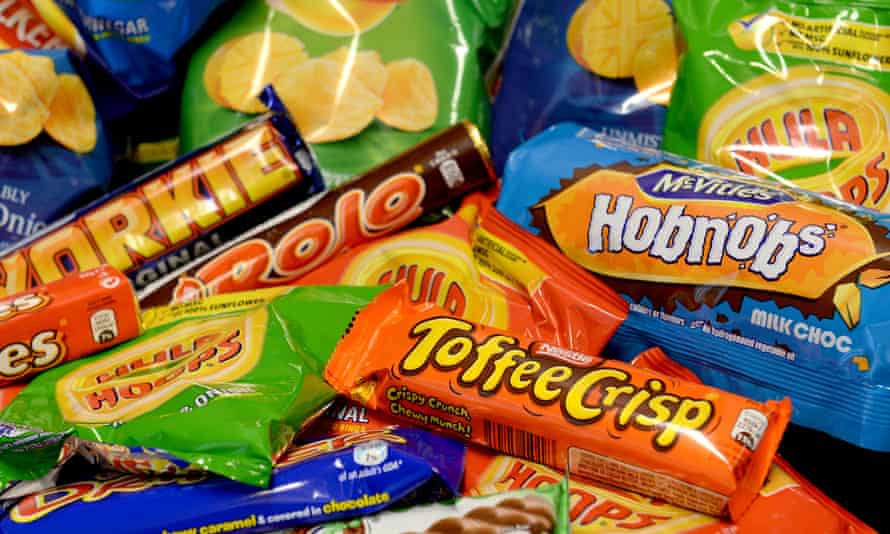 Biscuits, crisps and chocolate bars