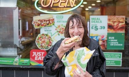 Zoe Williams testing a Subway sandwich
