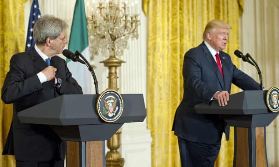 Paolo Gentiloni (left) and Donald Trump at a joint press conference on Thursday.